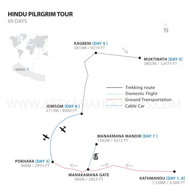 The detailed map of Hindu Pilgrim Tour Detailed with Apex Asia Holidays