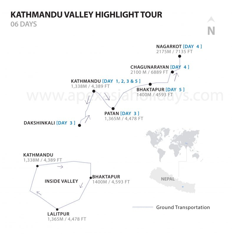 KathmanduValley Highlights Detailed Map by Apex Asia Holidays