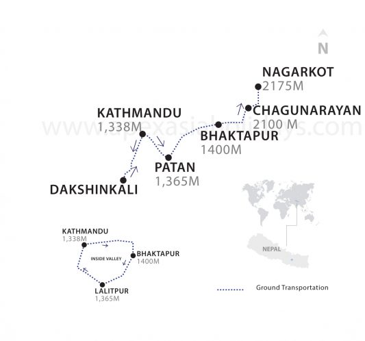 Kathmandu Valley Highlights Thumbnail map by Apex Asia Holidays
