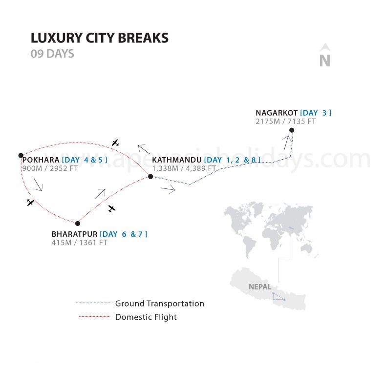 A detailed map of Luxury city breaks by Apex Asia Holidays