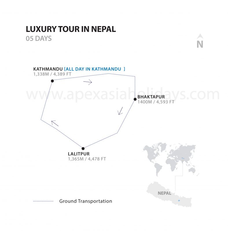 the detailed map of Luxury Tours in Nepal by Apex Asia Holidays