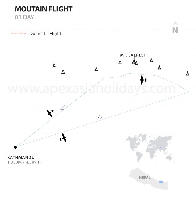 Moutain Flight Detailed Map by Apex Asia Holidays