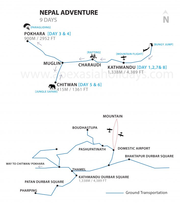 Nepal Adventure Detailed Map by Apex Asia Holidays