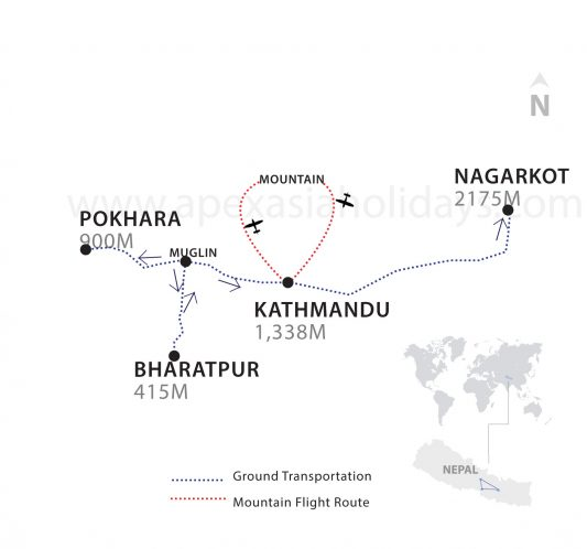 A thumbnail map of Nepal Vista Tour by Apex Asia Holidays