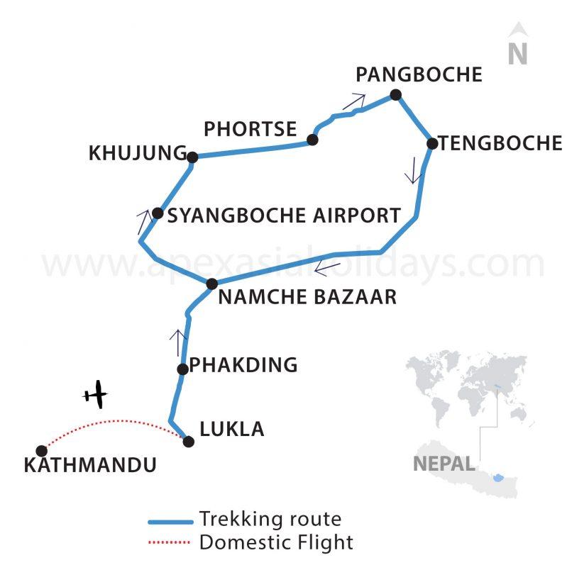 Sherpa Village Trek map Thumbnail map by Apex Asia Holidays