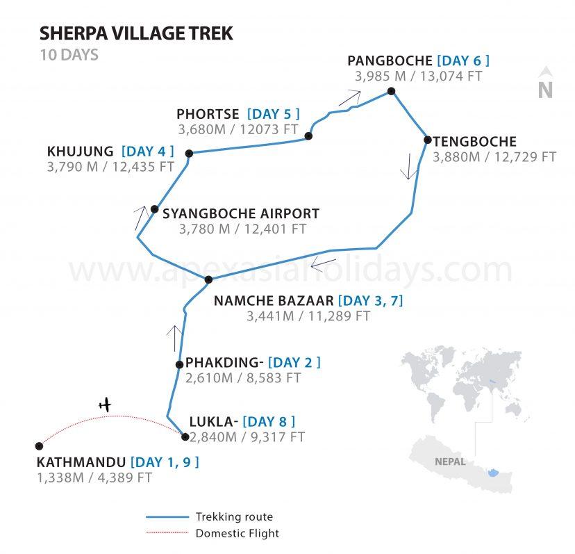 Sherpa Village Trek map by Apex Asia Holidays