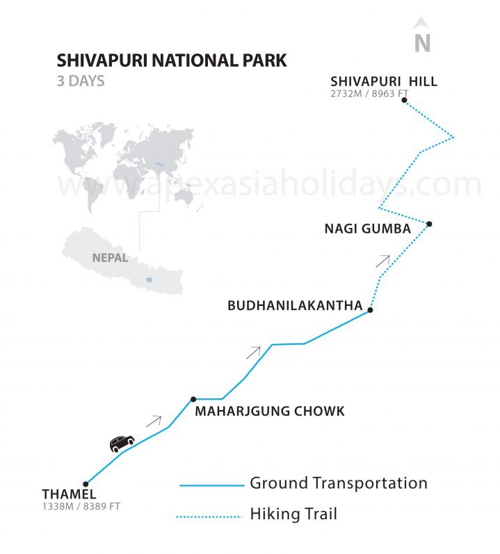 Shivapuri National Park map by Apex Asia Holidays