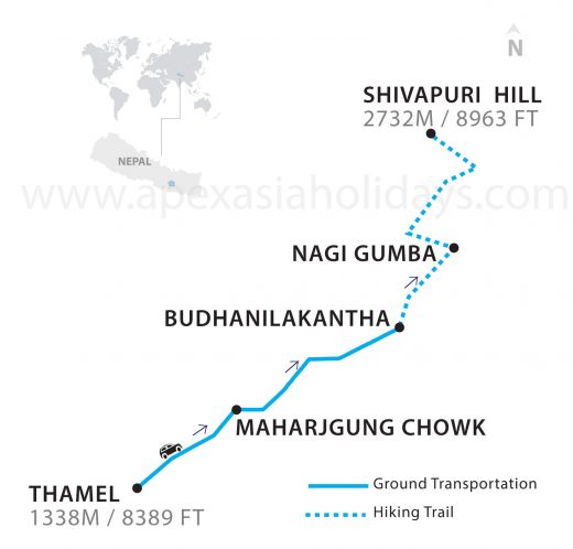 Shivapuri national park hiking in a day kathmandu Thumbnail Map by Apex Asia Holidays