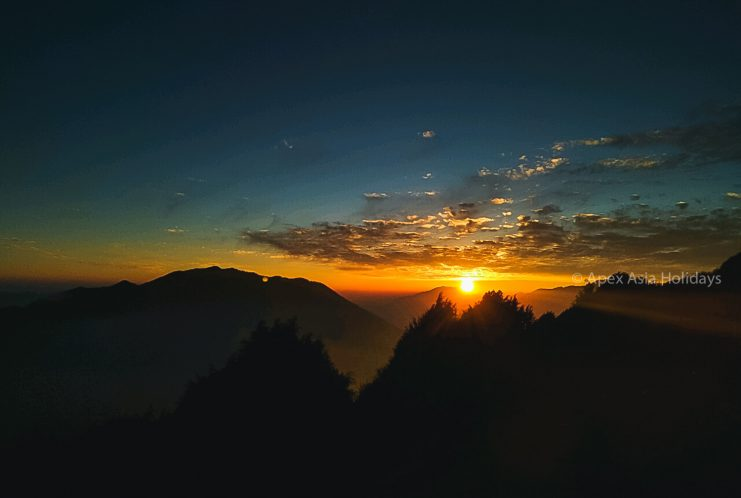 Stunning sunrise view from Langtang Valley Trekking Route with Apex Asia Holidays