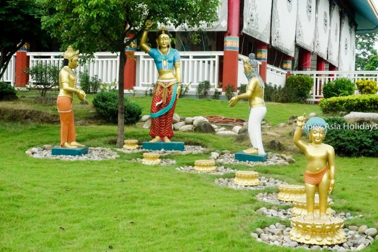 The statues of Lord Buddha and his students in Lumbini Nepal