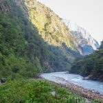 Walking through the Budhigandaki enroute of Manaslu Circuit Trek