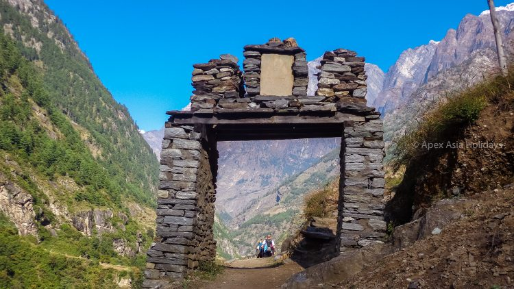 Welcome gate in Manalsu Circuit Trek in Larke Pass with Apex Asia Holidays