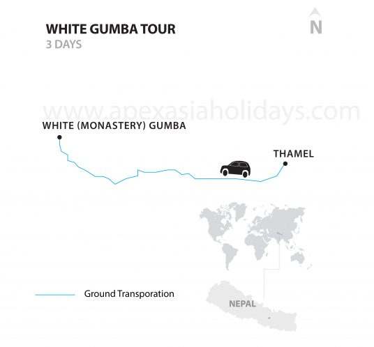 White Gumba Tour white Monastery Kathmandu by Apex Asia Holidays