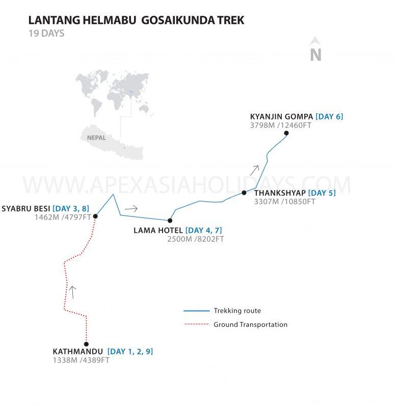 Langtang Helmabu Gosaikunda trek and detailed Map by Apex Asia Holidays