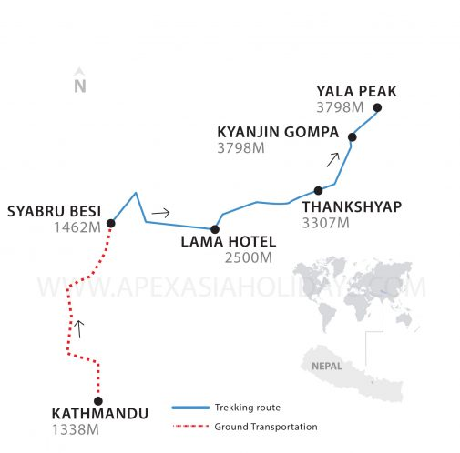 The thumbnail map of Yala Peak by Apex Asia Holidays