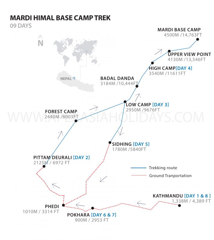 Detailed Map of Mardi Himal Trek