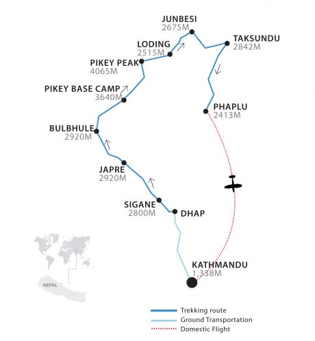 Pikey Peak Base Camp Trek Map by Apex Asia Holidays