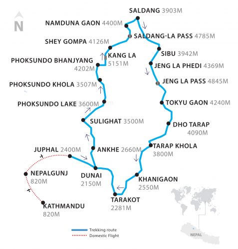 A Thumbnail Map of Upper Dolpo Trek by Apex Asia Holidays