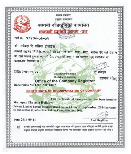 Company Registered Certificate-Apex Asia Holidays